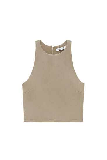 Sleeveless faux leather top