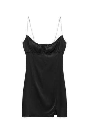 Short dress with rhinestone straps