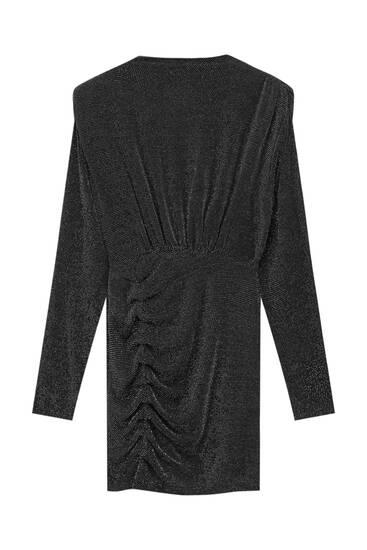 Draped black mock neck dress