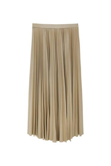 Pleated faux leather midi skirt