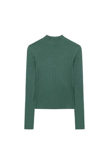 Ribbed high neck sweater with vents