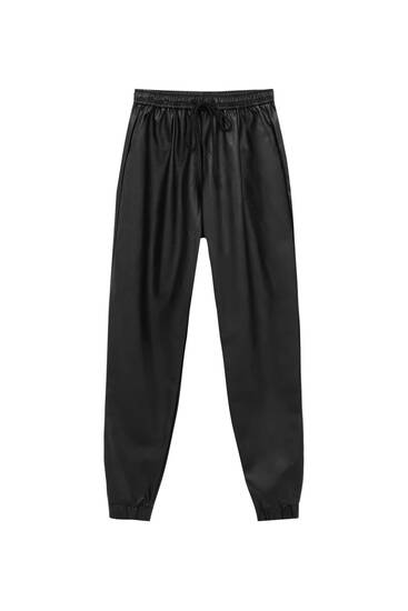 Faux leather stretch jogging trousers