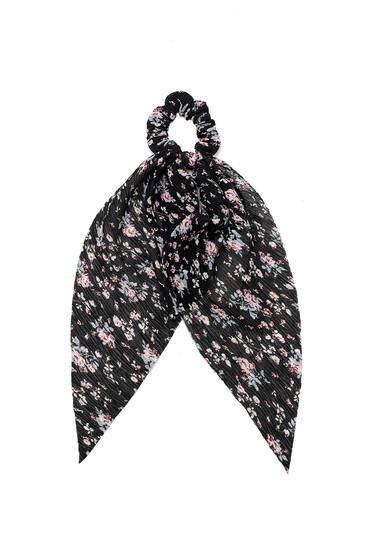 Floral scarf scrunchie