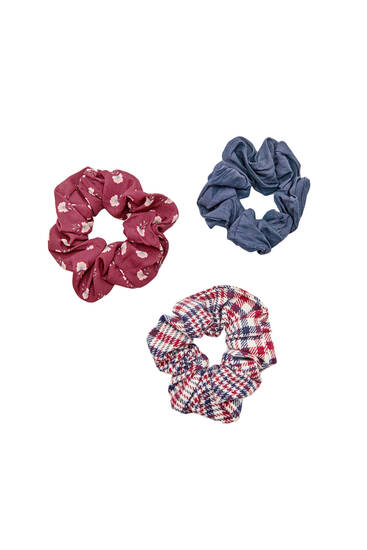 3-pack check and floral scrunchies