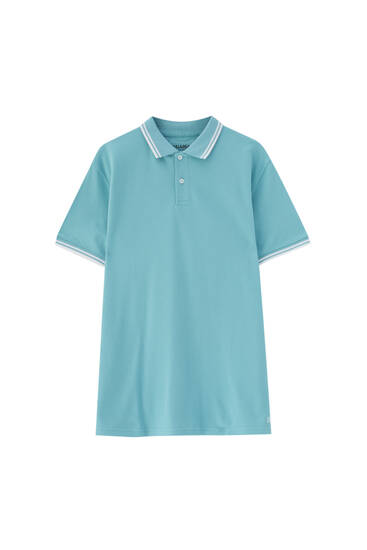 Basic polo shirt with contrast rib detail