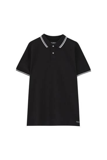 Базова сорочка-поло з контрастною окантовкою в рубчик