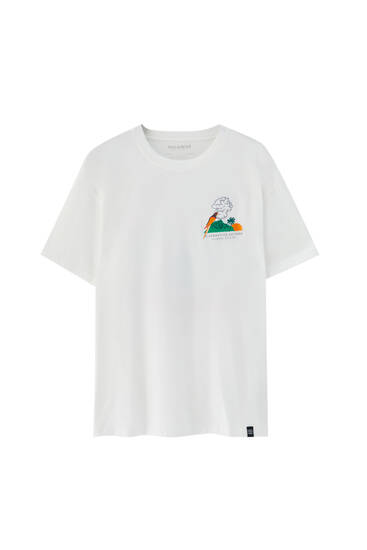 T-shirt with embroidered parrot