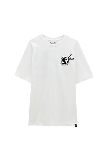 White T-shirt with paintbrush print