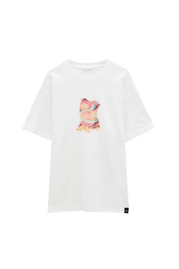 Біла футболка з чіпсами - органічна бавовна (не менше 50%)