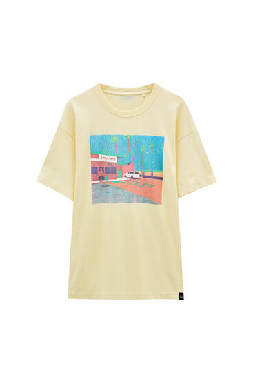 Yellow parking illustration T-shirt - ecologically grown cotton (at least 50%)