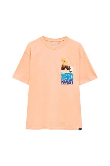 Orange T-shirt with contrast slogan