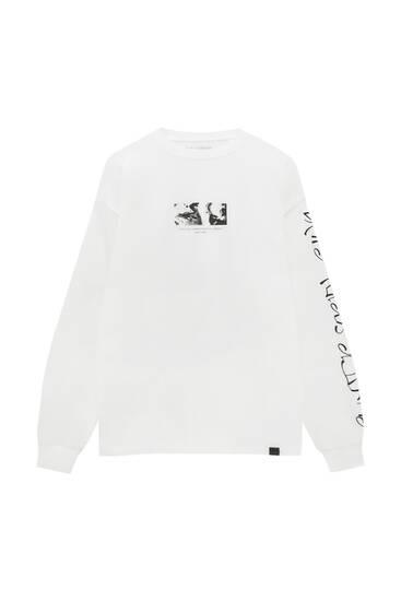 Weißes Langarmshirt mit Motiv