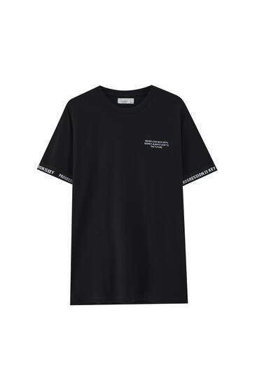 T-shirt with ribbed trim sleeves