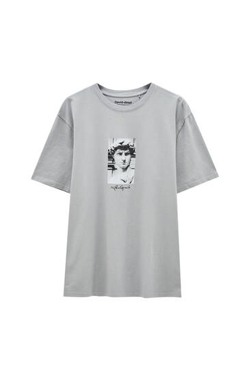 Grey T-shirt with Michelangelo illustration