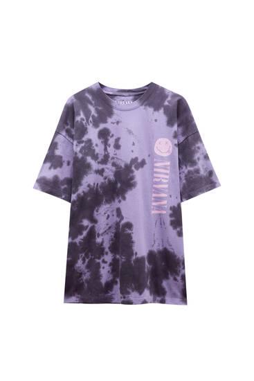 Violet tie-dye Nirvana T-shirt