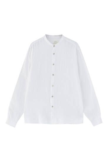 Linnen blouse met maokraag - 100% Europees geteeld linnen