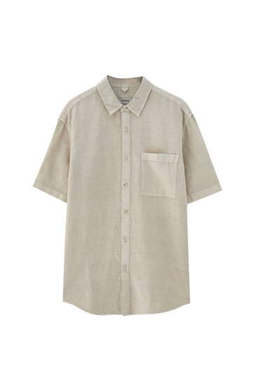 Basic blouse van katoen en linnen