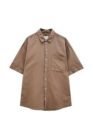 Basic košulja od pamuka i lana
