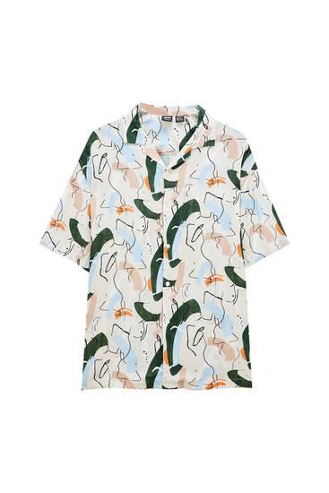 Retro printed brushstroke shirt - 100% ECOVERO™ viscose