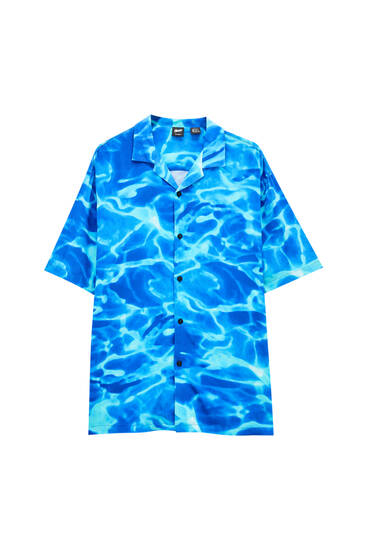 Pool water print shirt - ecologically grown cotton (at least 50%)