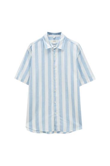 Striped linen blend shirt