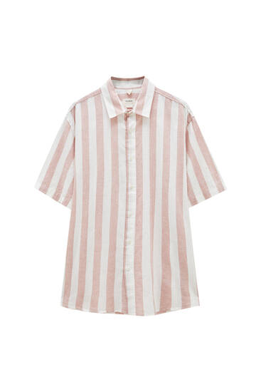 Striped linen blend shirt - ecologically grown cotton (at least 50%)