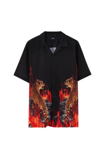 Black tiger print shirt