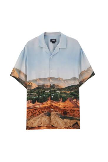 Landscape print shirt - 100% ECOVEROTM viscose