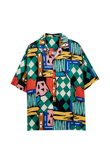 Green shirt with abstract print