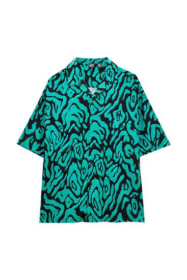 Green animal print shirt