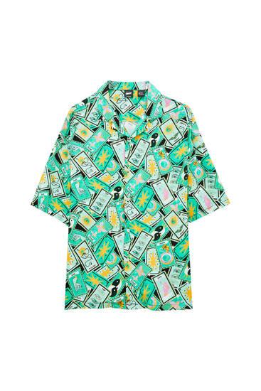 Zelena košulja sa dezenom tarot karata – 100% viskoza ECOVERO™