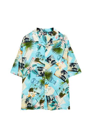 Turquoise shirt with postcard print