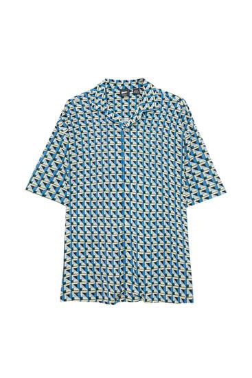 Темно-синя сорочка з геометричним принтом