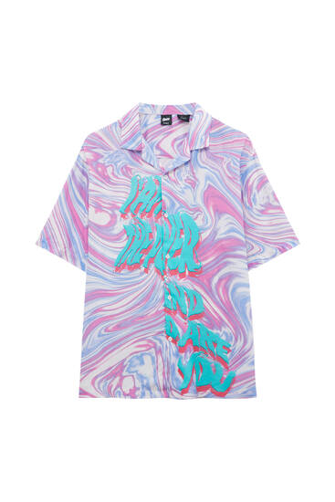 Psychedelic print shirt with slogan