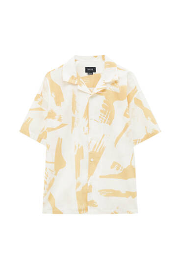 Textured shirt with brush strokes print