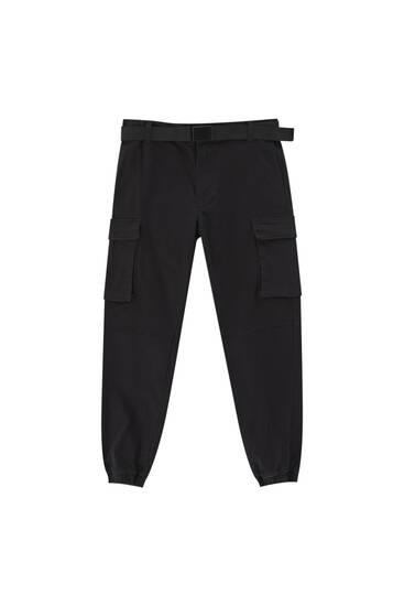 Штани з ременем і кишенями-карго