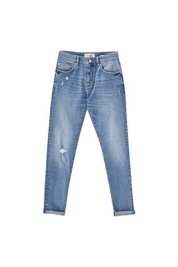 Jeans skinny fit básicas com rasgões - Contém algodão reciclado