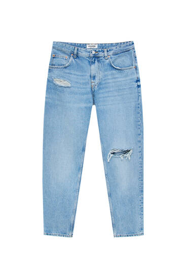 Ripped straight-leg '90s jeans