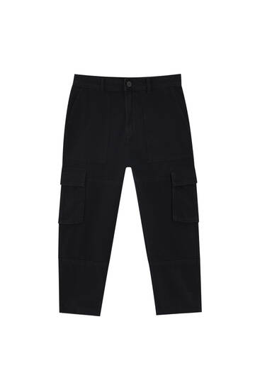 Black relaxed fit cargo jeans