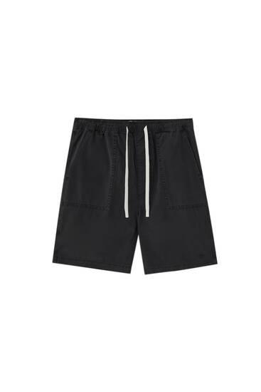 Garment-dyed STWD Bermuda shorts
