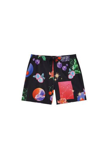 Black multicoloured print Bermuda shorts