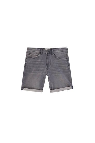 Denim Bermuda shorts with turn-up hems - ecologically grown cotton (at least 50%)