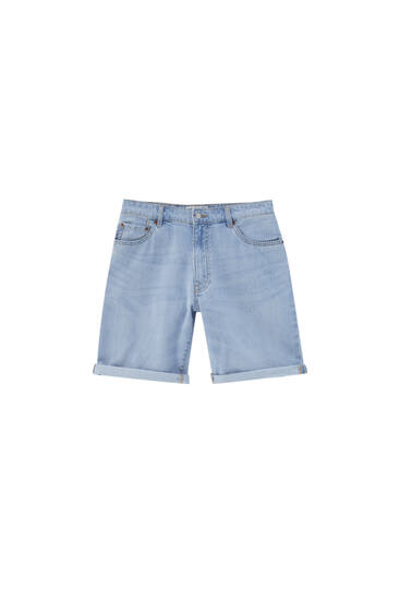 Lightweight denim Bermuda shorts
