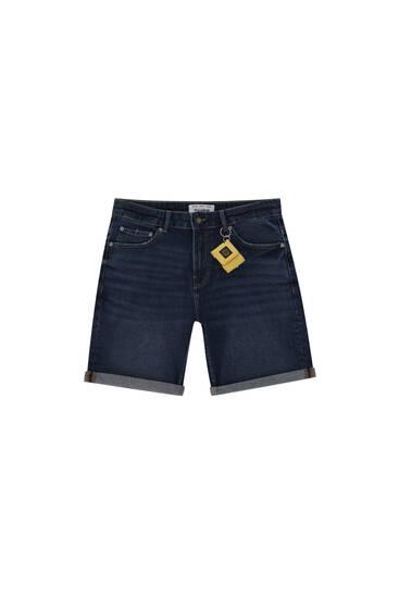 Basic slim fit comfort denim Bermuda shorts
