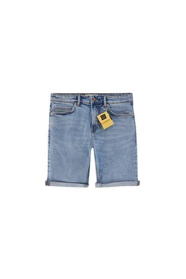 Basic slim comfort fit denim Bermuda shorts