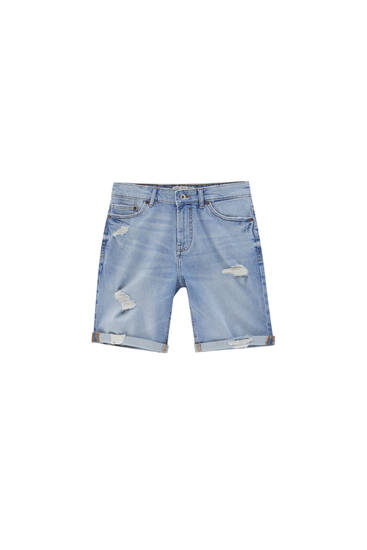 Blue denim Bermuda shorts - with recycled cotton
