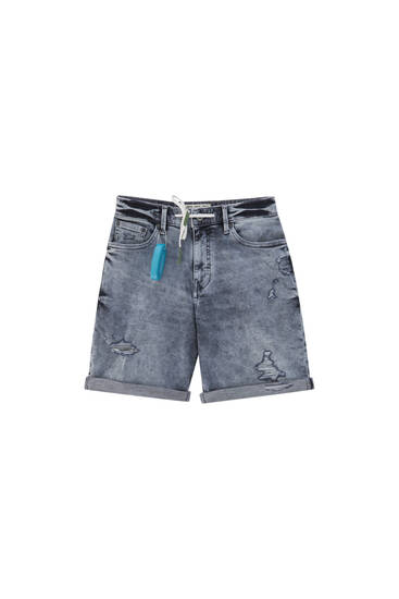 Skinny fit denim Bermuda shorts with ripped detail