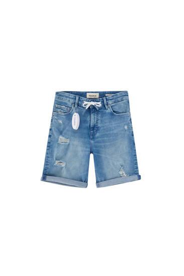 Medium blue skinny denim Bermuda shorts