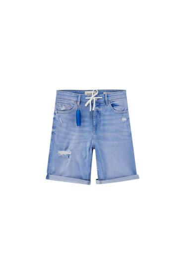 Blue skinny denim Bermuda shorts