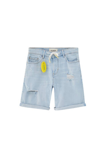 Blue skinny Bermuda shorts with drawstring - contains recycled cotton